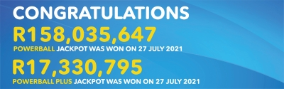 DOUBLE JACKPOT LUCK FOR NORTH WEST AND GAUTENG POWERBALL MILLIONAIRES